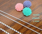 20 PETITE Silver Shiny Plated Ball Chains 24 inches Necklaces 1.5mm