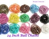 25 Colored  Ball Chains Necklaces 24 inches Blue Green Pink Purple Silver Plated  2.4mm