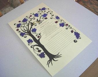 Tree of Life (portrait) Wedding Vows / Ketubah / Quaker certificate - PRINT