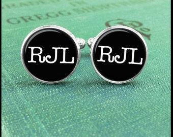 Monogram Cufflinks, Initial Cufflinks, Custom Monogrammed Cufflinks, Anniversary Gift, Personalized Cufflinks, Gift Idea, Wedding Cuff Links