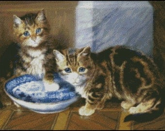 TWO KITTIES cross stitch pattern No.517