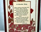 Antique Polycraft shops leatherette Slumber Song poem framed