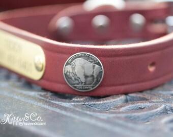 Brown Leather Dog Collar // Leather Dog Collar // Dog Collar // Buffalo Concho Dog Collar // Black Dog Collar // Puppy Collar // Pet Collar