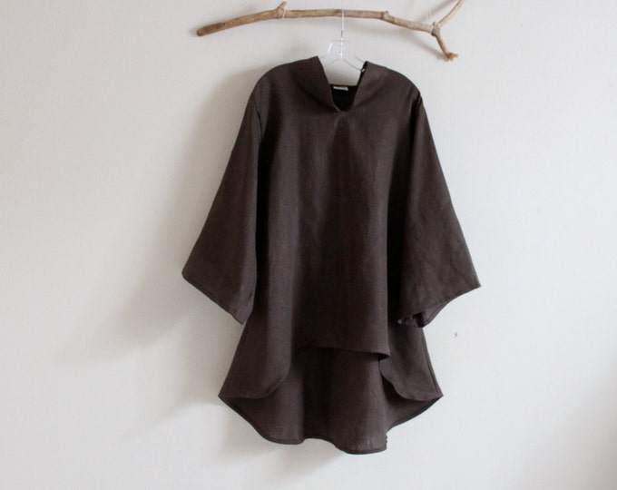 heavy weight linen asian long length blouse plus size welcome