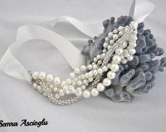 Pearl Christmas Gift,Wedding Tie Bracelet,pearl bracelet  Weddings Ivory Chunky Layered  Pearl Bracelet