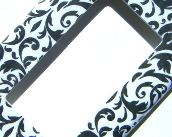Damask GFCI Outlet Cover Rocker Light Switch Cover -- Black and White