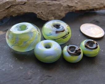 Handmade Lampwork Glass Bead Set. Spring Green Sky Blue n Black. Jewelry Supply. LWS-35