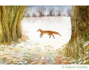 Winter Fox landscape print