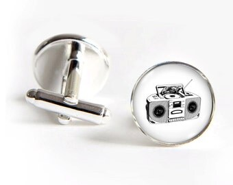 Boombox Cufflinks silver 18mm cuff links Gifts for him