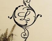 "5"" wide X 11"" tall - custom monogram letter decal"