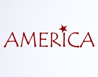 America Decal vinyl words  Patriotic decoration