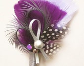 Plum and Silver Feathery Boutonniere