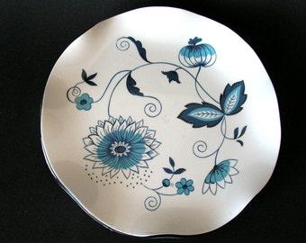 Midcentury Stotter Settings Blue Onion Melamine salad dessert plates set of four