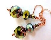 Olive Green Glass Earrings, Olive Green Glass Beaded Earrings, Vintage Inspired Olivine Earrings,  Olive Green Copper Dangle Earrings