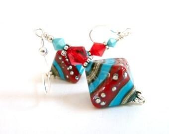 Red Turquoise Earrings, Drop Dangle Earrings,  Glass Beaded Earrings, Handmade Lampwork Earrings, Southwestern Influence, Sterling Silver
