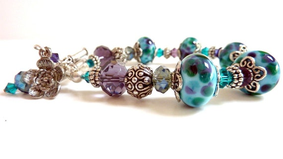 Aqua Spotted Lampwork Bracelet, Blue Purple Lavender Green Teal Zircon Glass Beaded Bracelet, Handmade Lampwork Beads, Colorful