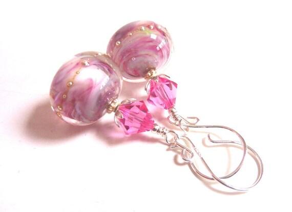Rose Swirl Earrings, Pink Glass Beaded Earrings, Rose Pink Handmade Lampwork  Earrings,  Sterling Silver, Mother's Day