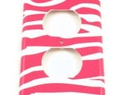Light Switch Cover   Outlet  Switchplate Cover Switch Plate in Funky  Zebra Hot Pink  (095O)