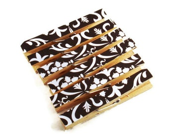 Altered Clothespin  Clips  Decorative  Wooden Clothespins in Black Damask