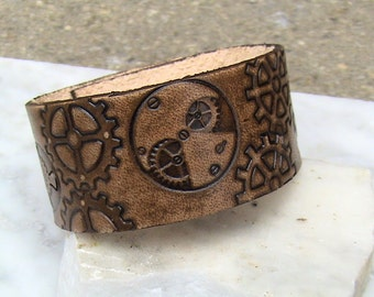 Hand-stamped Antiqued Steampunk Leather cuff - 1.25 inches wide