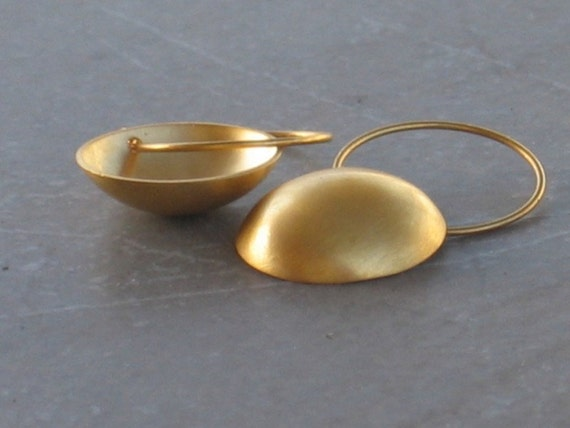 Gold dome hoop earrings, round gold dangle earrings, for her