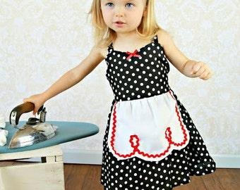 Retro Polka Dot apron dress with RED trim ROCKABILLY I Love Lucy girls toddler infant fifties style dress 50s