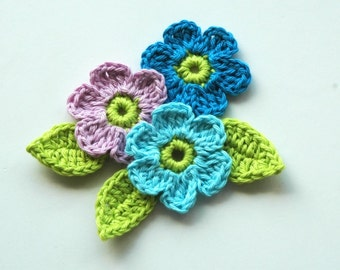 Crochet Flowers Lilac and Blue