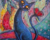 CLEARANCE, Contemplation, Original 18 x 24 Acrylic Painting on Canvas, Modern Contemporary Folk Art, Black Cat Monarch Butterfly