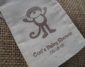 Favor Bags - SET OF 10 Monkey Circus Jungle Zoo Safari Muslin 3x5 Favor Bags Gift Bags or Candy Bags - Item 3M1200