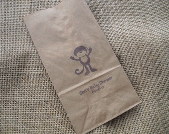 Monkey Zoo Animal Circus Safari Jungle Personalized Kraft Paper Party Favor Treat Bags - Set of 10 - Item KP1200