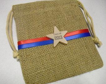 Graduation Favor Bags - SET OF 10 Burlap Bags with School Colors - 5x6 - Item 5B1535