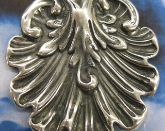 Sterling Silver Ox Plated Brass Shell Stampings 2237SOX  x2