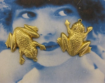 Natural Raw Brass Frog Charms 792RAW  x2