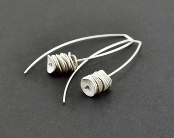 Reticulated sterling silver long dangle earrings. Rustic texture. Minimalist earrings. Contemporary jewelry