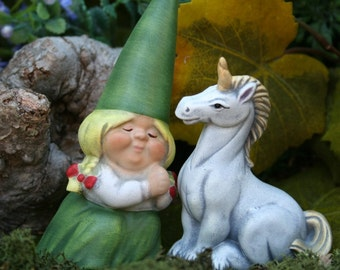 Woman Gnome & Her White Unicorn - Fairy Garden Art - Outdoor Decor