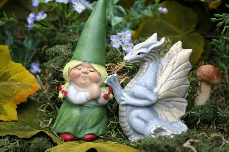 Female Garden Gnomes: Little Girl Garden Gnome & Her Pet Dragon 2 Piece Set