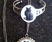 Cat, Cat necklace, Cat cameo, cat jewelry, ready to ship, gifts for her, kitty, retro, cameo, cameo necklace, meow