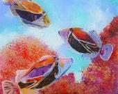 Humuhumu 5 Original Tropical Fish Reverse Acrylic Painting by Marionette from Kauai Hawaii red purple blue