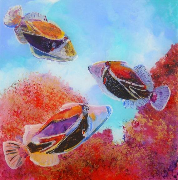 Humuhumu 5 original tropical fish reverse acrylic painting by for Tropical fish painting