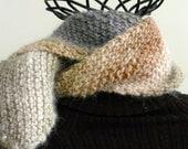 Diagonal Striped Noro Knit Wool Scarf