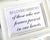 In Loving Memory Sign Wedding -  White or Ivory