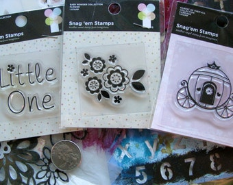 Little One, Girl - 3 packs of mini stamps, Destash, Sale