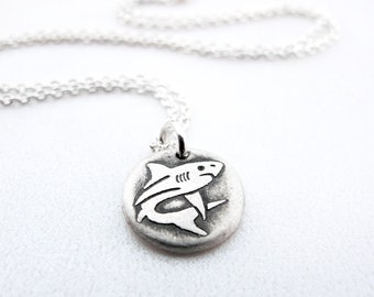 Tiny shark necklace, silver shark jewelry, shark week, ocean pendant eco friendly nautical