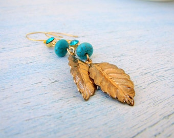 Earrings With Turquoise and Golden Leaf Gold Summer FREE SHIPPING