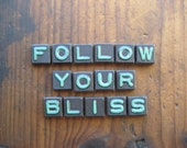 FOLLOW YOUR BLISS Wood Anagram Game Pieces, Gifts under 25, Gifts for Her, Valentines Day