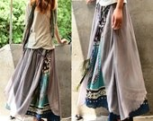 Nepalese sari cotton chiffon maxi skirt / paisley pattern skirt / peacock feather skirt / boho layered skirt / cerulean skirt (Q1106)
