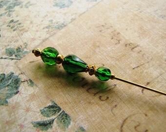 Green Hatpin, Gold Plated Hijab Pin, Stick Pin