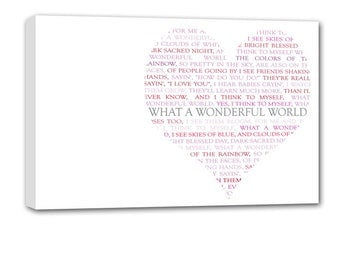 Romantic Heart Shaped Word Art on canvas Large Typography Grunge 20X30 OOAK gallery wrapped canvas