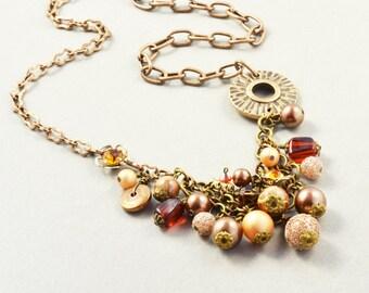 Brass Beaded Necklace, Art Deco Necklace, OOAK