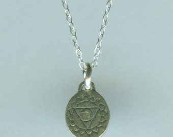 Sterling Silver THROAT CHAKRA Pendant  - 2 Sided